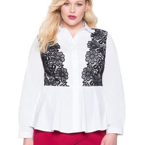 Eloquii peplum blouse with lace overlay